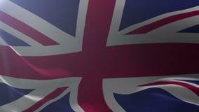 Bandeira de Reino Unido que acena no mastro de bandeira no vento, símbolo nacional da liberdade ilustração do vetor