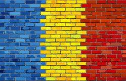 Bandeira de Romênia em uma parede de tijolo Imagem de Stock Royalty Free
