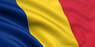 Bandeira de Romania/República do Tchad Foto de Stock Royalty Free