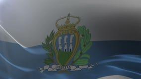 Bandeira de São Marino que acena no mastro de bandeira no vento, símbolo nacional da liberdade ilustração do vetor