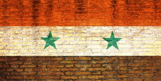 Bandeira de Síria pintada em uma parede de tijolo ilustração 3D Imagem de Stock Royalty Free