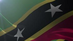 Bandeira de Saint Kitts e Nevis que acenam no vento, símbolo nacional da liberdade ilustração stock