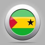 Bandeira de Sao Tome And Principe Botão redondo do metal Imagem de Stock Royalty Free