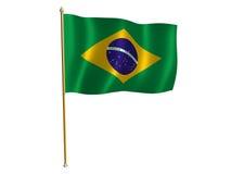 Bandeira de seda brasileira Fotografia de Stock Royalty Free