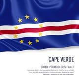 Bandeira de seda de Cabo Verde que acena em um fundo branco isolado com a área de texto branca para sua mensagem do anúncio ilustração stock
