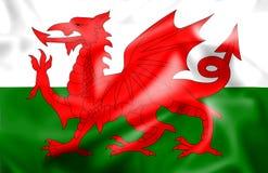 Bandeira de seda Rippled de Galês Foto de Stock