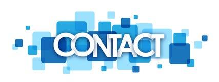 Bandeira de sobreposição azul dos quadrados do CONTATO Imagens de Stock