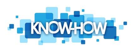 Bandeira de sobreposição azul dos quadrados do 'KNOWHOW' Imagem de Stock