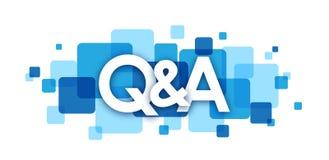 Bandeira de sobreposição azul dos quadrados do Q&A Imagens de Stock Royalty Free