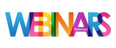 Bandeira de sobreposição colorida das letras de WEBINARS ilustração stock