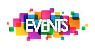 Bandeira de sobreposição colorida dos quadrados dos EVENTOS Fotografia de Stock Royalty Free