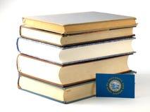 Bandeira de South Dakota com a pilha dos livros isolados no backgroun branco Imagem de Stock Royalty Free