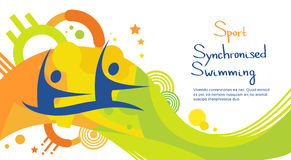 Bandeira de Sport Competition Colorful do atleta da natação sincronizada Fotografia de Stock