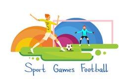 Bandeira de Sport Competition Colorful do atleta do jogador de futebol Imagem de Stock Royalty Free