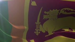 Bandeira de Sri Lanka que acena no mastro de bandeira no vento, símbolo nacional da liberdade ilustração do vetor