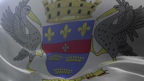 Bandeira de St Barthelemy que acena no mastro de bandeira no vento, símbolo nacional da liberdade ilustração royalty free