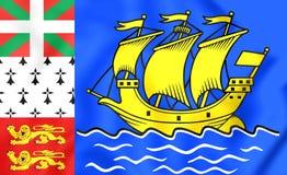 Bandeira de St Pierre-miquelon, França Foto de Stock Royalty Free