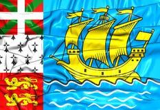 Bandeira de St Pierre-miquelon, França Imagens de Stock Royalty Free