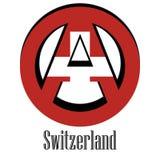 Bandeira de Suíça do mundo sob a forma de um sinal da anarquia ilustração royalty free