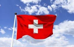 Bandeira de Suíça, emblema do cantão de Schuwytz fotografia de stock royalty free