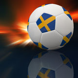 Bandeira de Sweden no futebol 3d Foto de Stock Royalty Free
