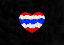 Bandeira de Tailândia do polígono na forma do coração Imagem de Stock