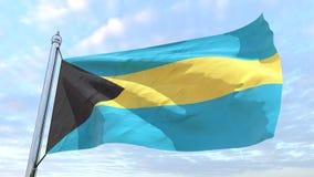 Bandeira de tecelagem do Bahamas do país ilustração stock