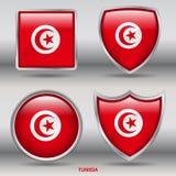 Bandeira de Tunísia na coleção de 4 formas com trajeto de grampeamento Foto de Stock