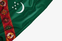 Bandeira de Turquemenist?o da tela com copyspace para seu texto no fundo branco foto de stock royalty free