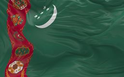 A bandeira de Turquemenistão que acena no vento 3d rende Imagens de Stock Royalty Free
