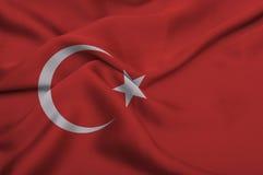 Bandeira de Turquia no fundo de seda Imagens de Stock Royalty Free
