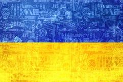 Bandeira de Ucrânia - fundo abstrato da notícia do conflito ilustração royalty free