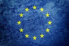 Bandeira de união de Europa do Grunge A UE embandeira com textura do grunge imagens de stock