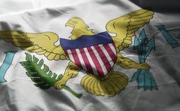 A bandeira de United States Virgin Islands emaranhou próximo acima fotos de stock royalty free
