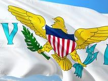 Bandeira de United States Virgin Islands que acenam no vento contra o c?u azul profundo Tela de alta qualidade foto de stock