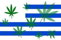 Bandeira de Uruguai com folha do cannabis Fotografia de Stock Royalty Free