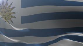 Bandeira de Uruguai que acena no mastro de bandeira no vento, símbolo nacional da liberdade ilustração royalty free