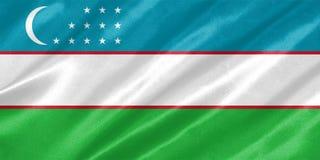 Bandeira de Usbequistão fotografia de stock