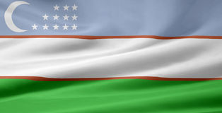 Bandeira de Uzbekistan Foto de Stock
