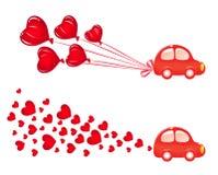 Bandeira de Valentin com carro ilustração do vetor