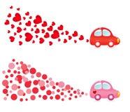 Bandeira de Valentin com carro ilustração stock