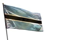 Bandeira de vibração de Botswana no fundo branco claro isolado foto de stock