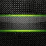 Bandeira de vidro horizontal transparente com efeito da luz verde no fundo do carbono Imagens de Stock Royalty Free