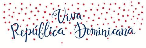 Bandeira de Viva Dominican Republic ilustração do vetor