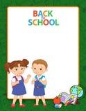Bandeira de volta ao vetor do logotipo da rotulação do aluno da menina do menino de escola Imagens de Stock