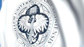 Bandeira de voo com emblema da Universidade de Chicago, close-up Animação 3D loopable editorial video estoque