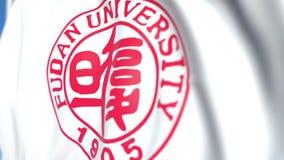 Bandeira de voo com o emblema da universidade de Fudan, close-up Animação 3D loopable editorial vídeos de arquivo