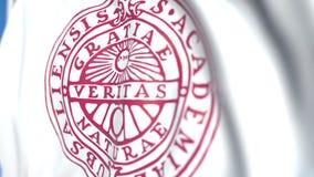Bandeira de voo com o emblema da universidade de Upsália, close-up Animação 3D loopable editorial filme