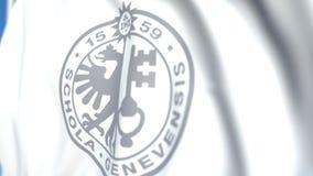 Bandeira de voo com a universidade do emblema de Genebra, close-up Animação 3D loopable editorial video estoque