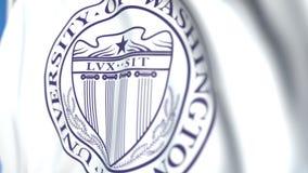 Bandeira de voo com a universidade do emblema de Washington Seattle, close-up Animação 3D loopable editorial filme